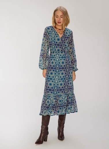 People By Fabrika Desenli Kruvaze Elbise İndigo
